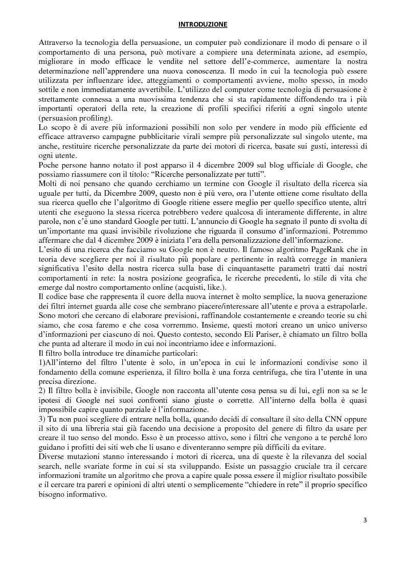 Anteprima della tesi: I Computer come media persuasivi, dal search Engine Marketing al Filtro Bolla, Pagina 2