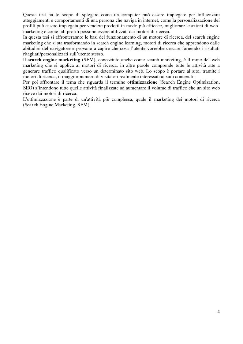 Anteprima della tesi: I Computer come media persuasivi, dal search Engine Marketing al Filtro Bolla, Pagina 3