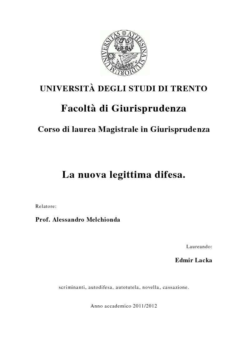 Anteprima della tesi: La nuova legittima difesa, Pagina 1