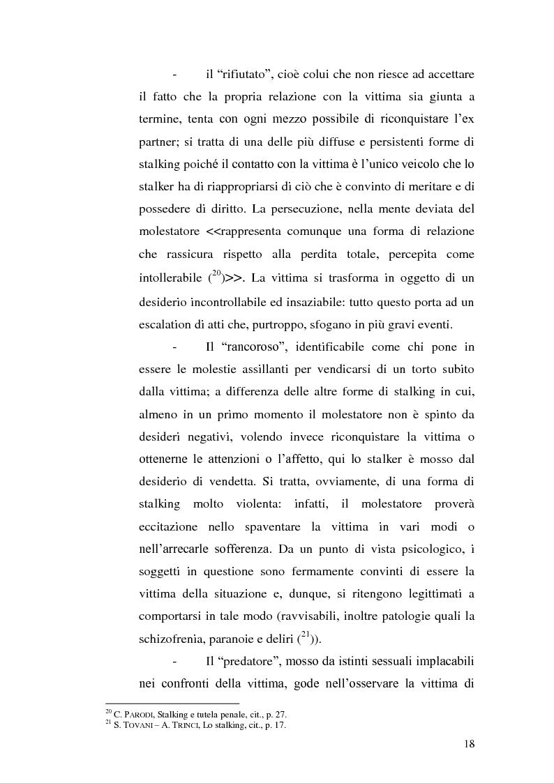 Anteprima della tesi: Aspetti problematici della disciplina dello stalking, Pagina 13