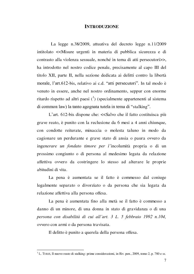 Anteprima della tesi: Aspetti problematici della disciplina dello stalking, Pagina 2