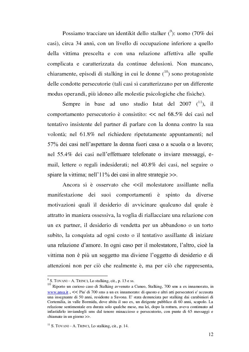 Anteprima della tesi: Aspetti problematici della disciplina dello stalking, Pagina 7