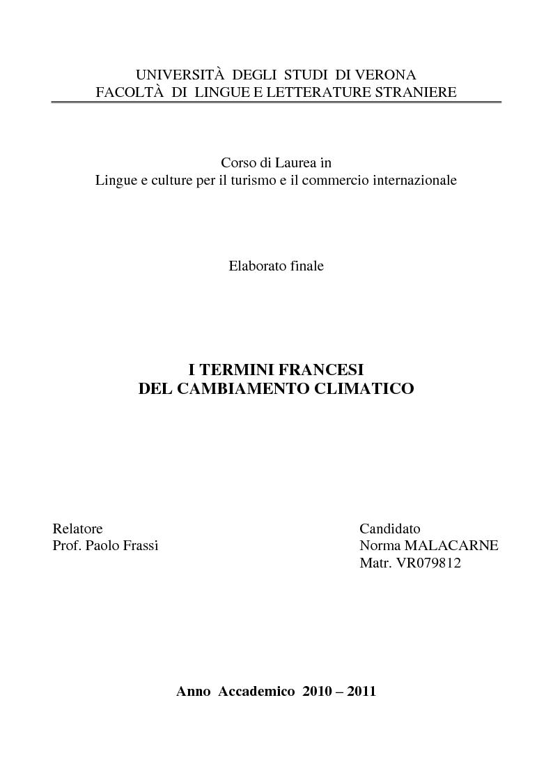 Anteprima della tesi: I termini francesi del cambiamento climatico, Pagina 1