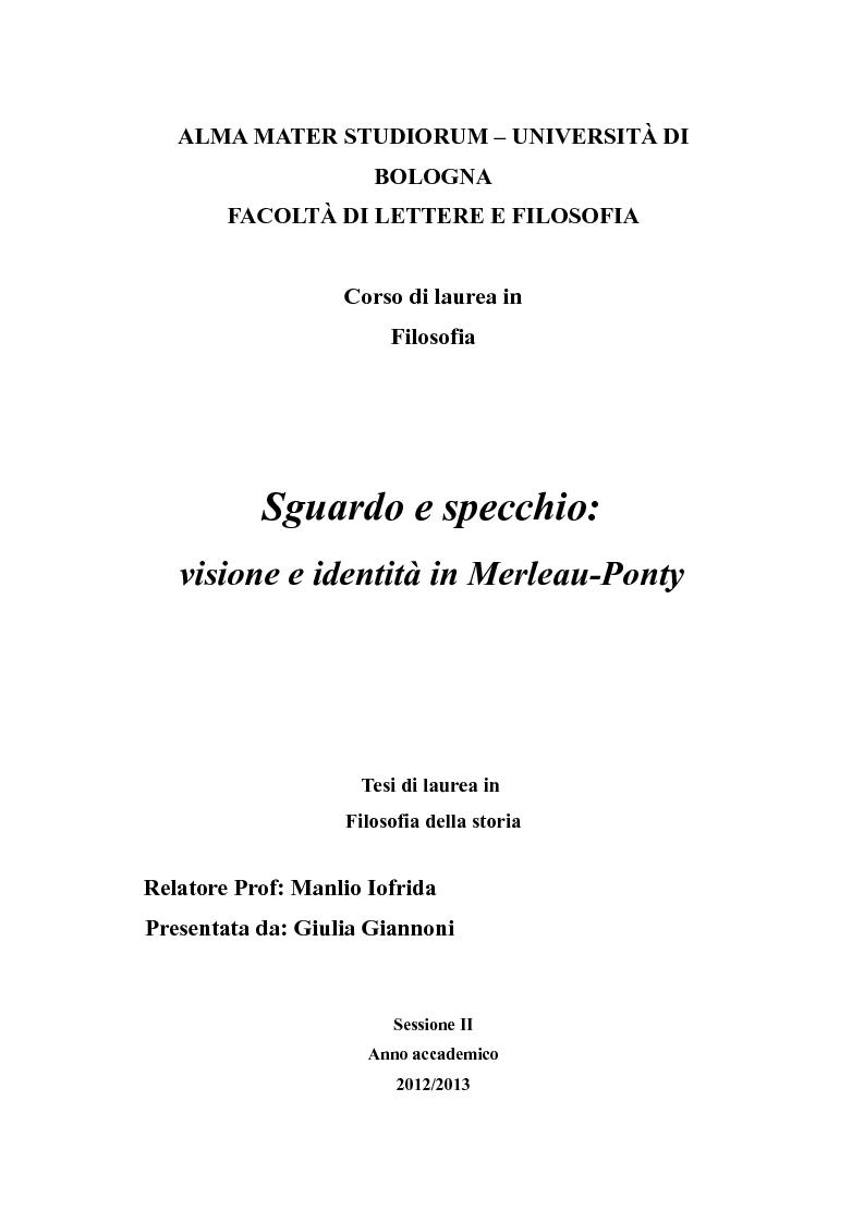 Anteprima della tesi: Sguardo e specchio: visione e identità in Merleau-Ponty, Pagina 1
