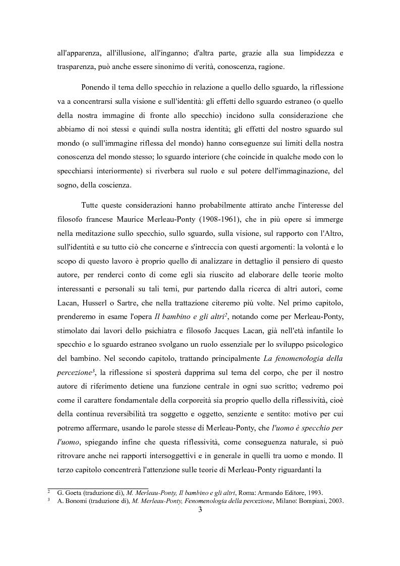 Anteprima della tesi: Sguardo e specchio: visione e identità in Merleau-Ponty, Pagina 3