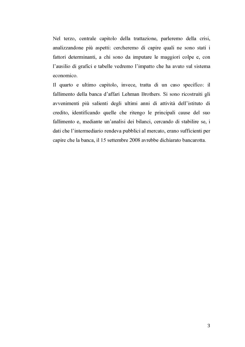 Anteprima della tesi: Fallimento Lehman Brothers: Problemi di regolamentazione e gestione bancaria, Pagina 4