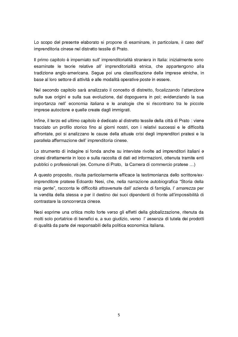 Anteprima della tesi: Imprenditorialità multiculturale e distrettualizzazione: il caso di Prato, Pagina 3