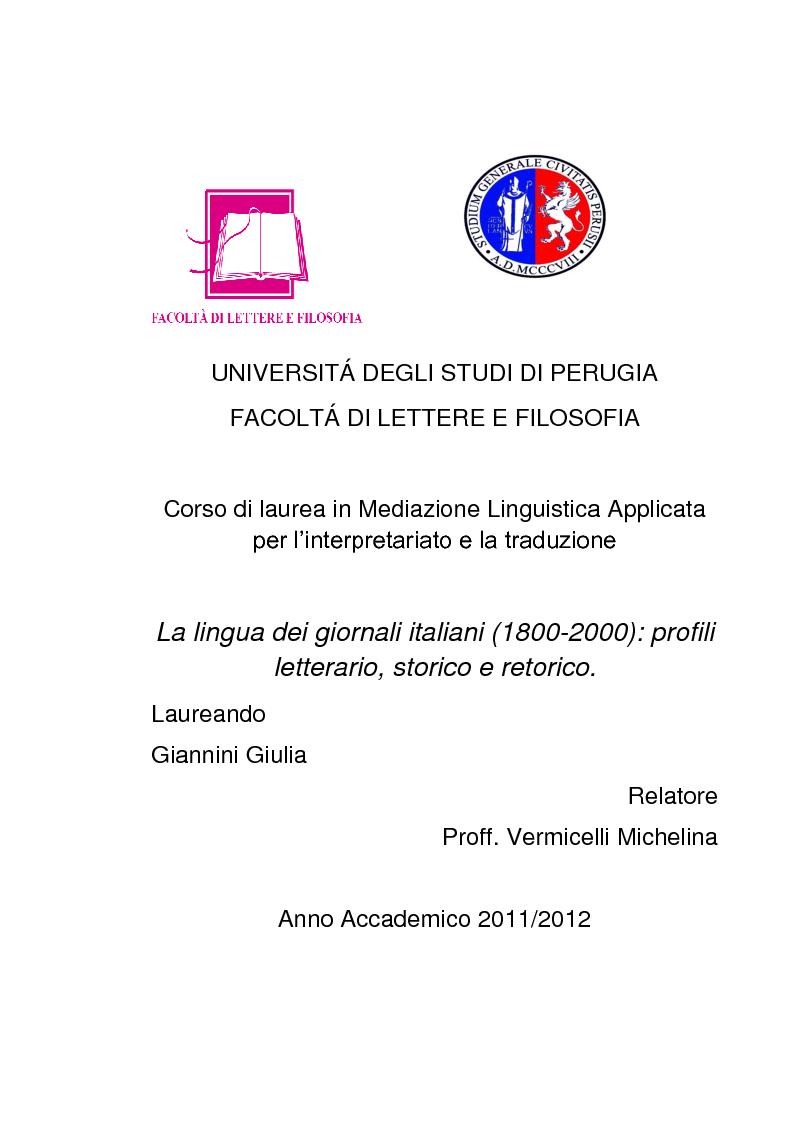Anteprima della tesi: La lingua dei giornali italiani (1800-2000): profili letterario, storico e retorico., Pagina 1