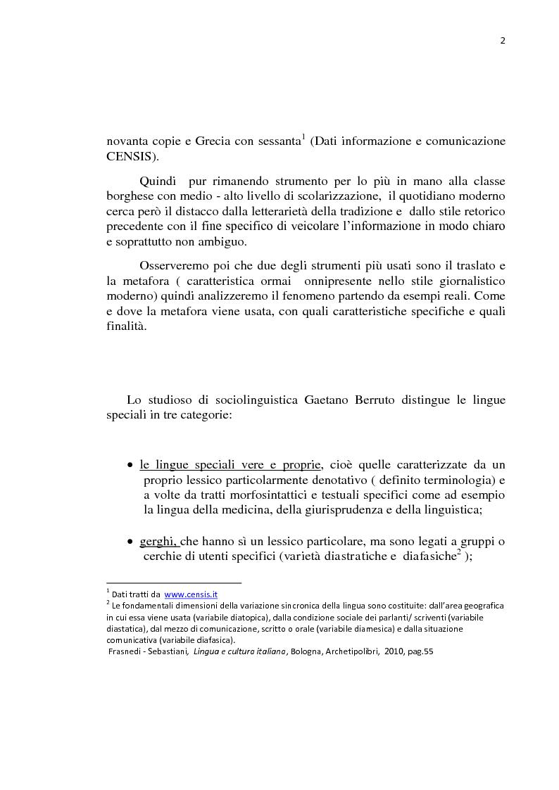 Anteprima della tesi: La lingua dei giornali italiani (1800-2000): profili letterario, storico e retorico., Pagina 3