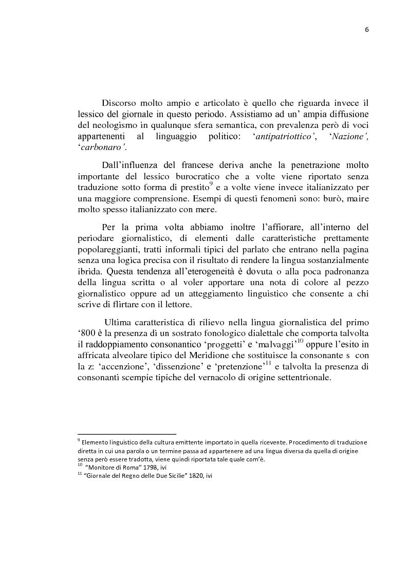 Anteprima della tesi: La lingua dei giornali italiani (1800-2000): profili letterario, storico e retorico., Pagina 7