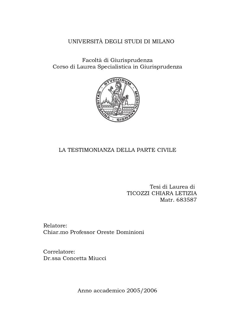 Anteprima della tesi: La testimonianza della parte civile, Pagina 1