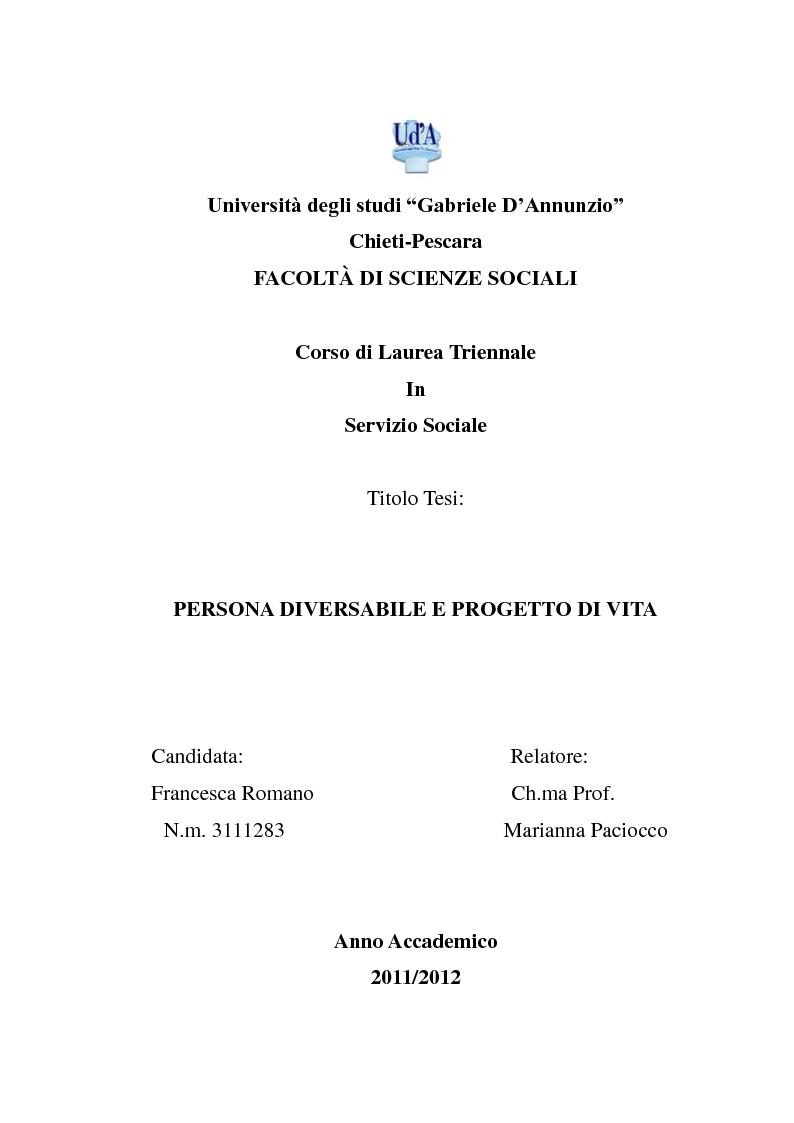 Anteprima della tesi: Persona diversabile e progetto di vita, Pagina 1