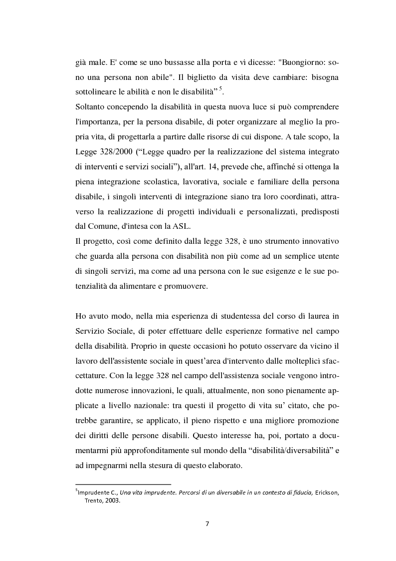 Anteprima della tesi: Persona diversabile e progetto di vita, Pagina 4