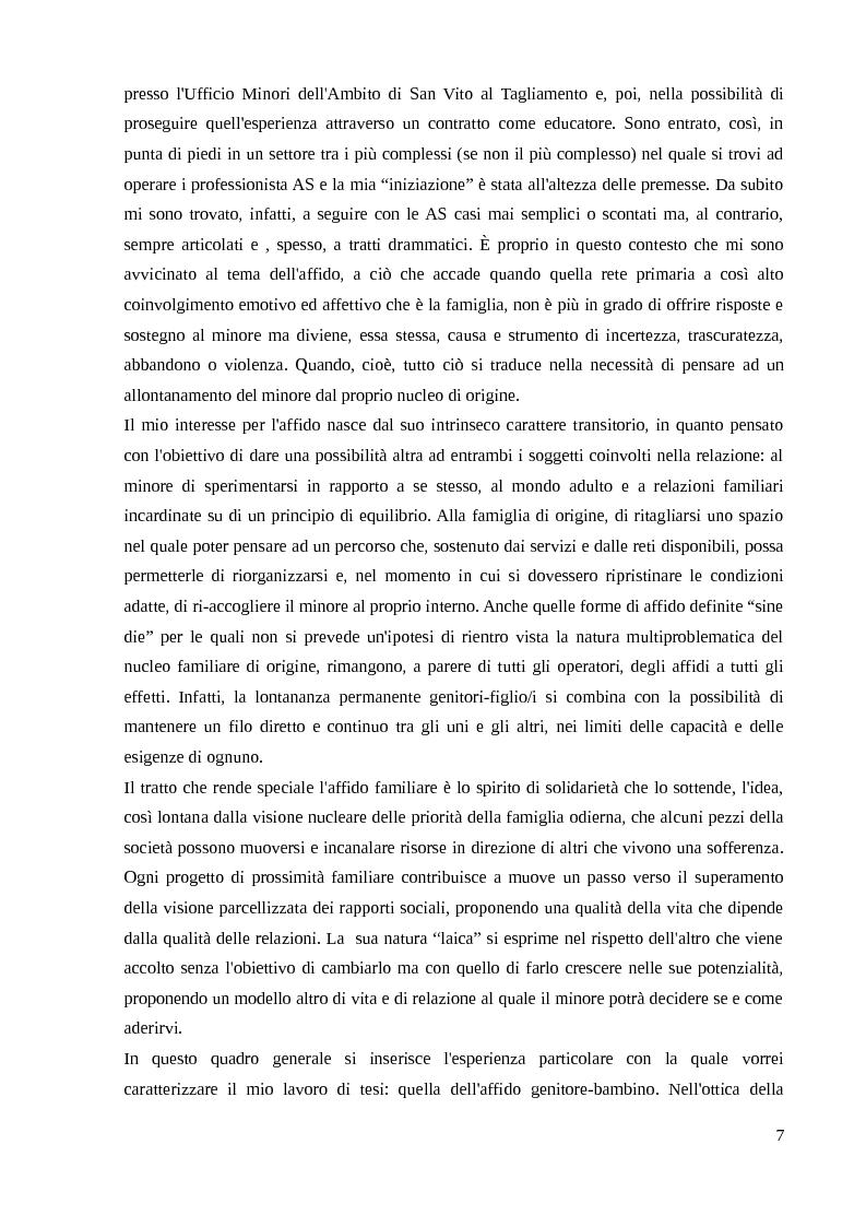 Anteprima della tesi: Come garantire al minore la sua famiglia e l'inserimento nella società: dall'affido del minore all'affido genitore bambino/i, Pagina 3