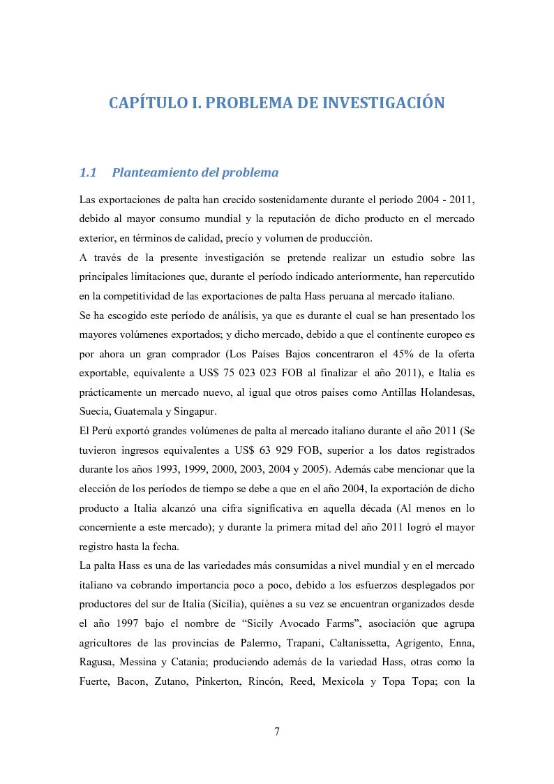 Anteprima della tesi: Investigación de mercado para la exportación de palta Hass al mercado de Italia (Ricerca di mercato per l'esportazione dell'avocado Hass al mercato di Italia), Pagina 4