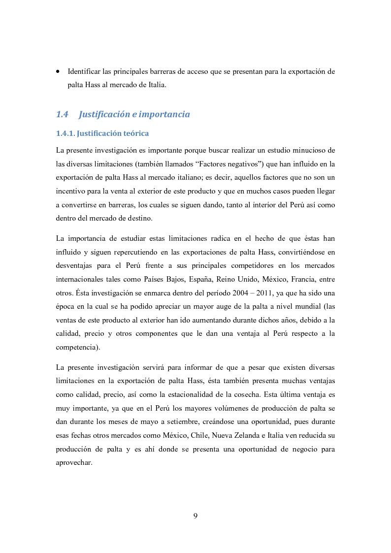 Anteprima della tesi: Investigación de mercado para la exportación de palta Hass al mercado de Italia (Ricerca di mercato per l'esportazione dell'avocado Hass al mercato di Italia), Pagina 6