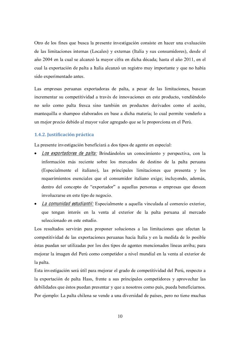 Anteprima della tesi: Investigación de mercado para la exportación de palta Hass al mercado de Italia (Ricerca di mercato per l'esportazione dell'avocado Hass al mercato di Italia), Pagina 7