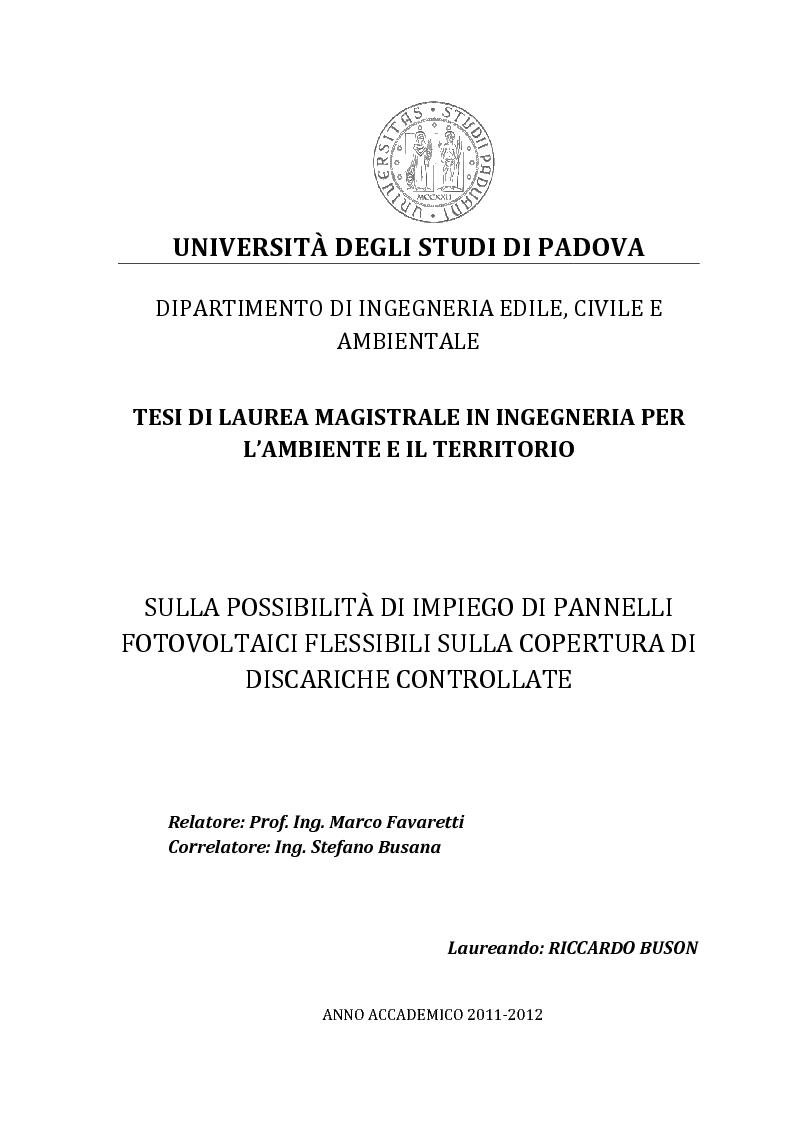 Anteprima della tesi: Sulla possibilità di impiego di pannelli fotovoltaici flessibili sulla copertura di discariche controllate, Pagina 1