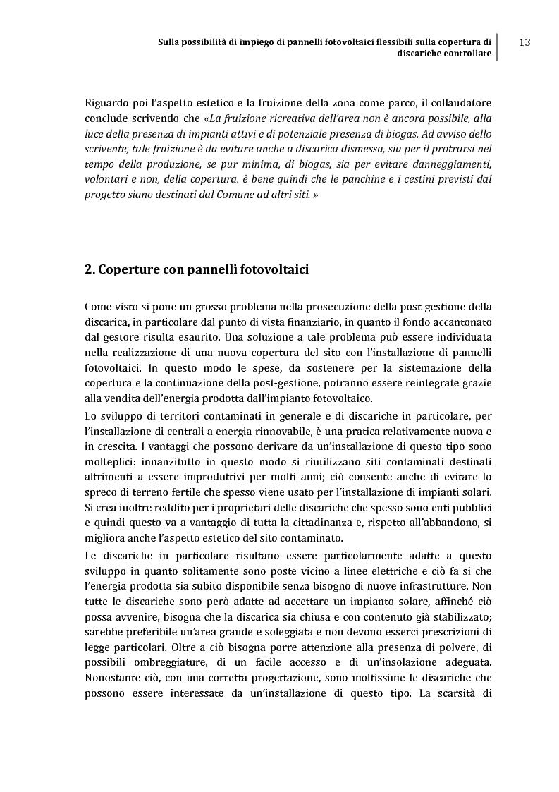 Anteprima della tesi: Sulla possibilità di impiego di pannelli fotovoltaici flessibili sulla copertura di discariche controllate, Pagina 10