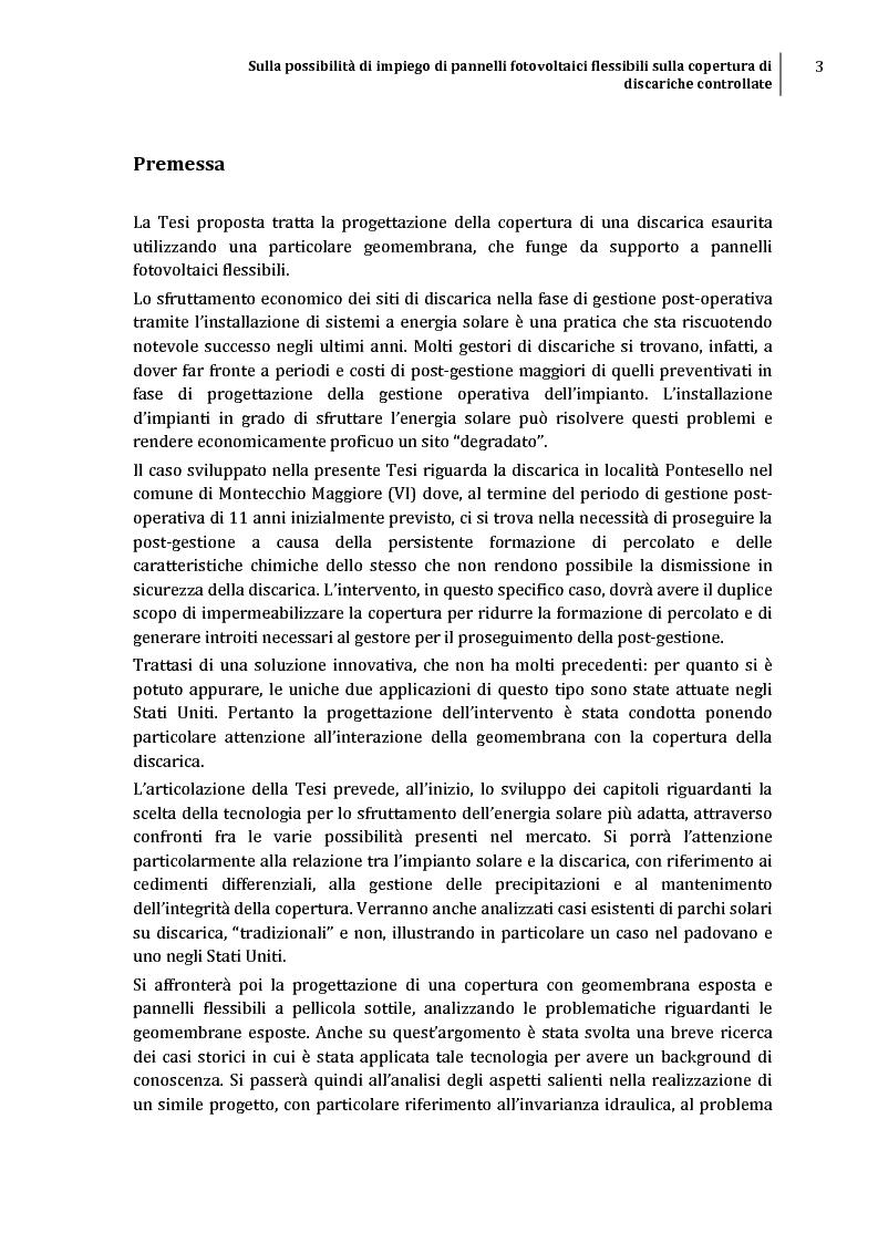 Anteprima della tesi: Sulla possibilità di impiego di pannelli fotovoltaici flessibili sulla copertura di discariche controllate, Pagina 2