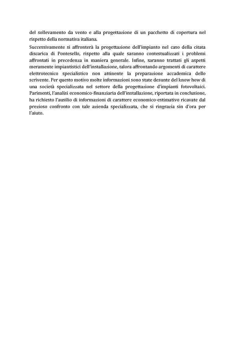 Anteprima della tesi: Sulla possibilità di impiego di pannelli fotovoltaici flessibili sulla copertura di discariche controllate, Pagina 3
