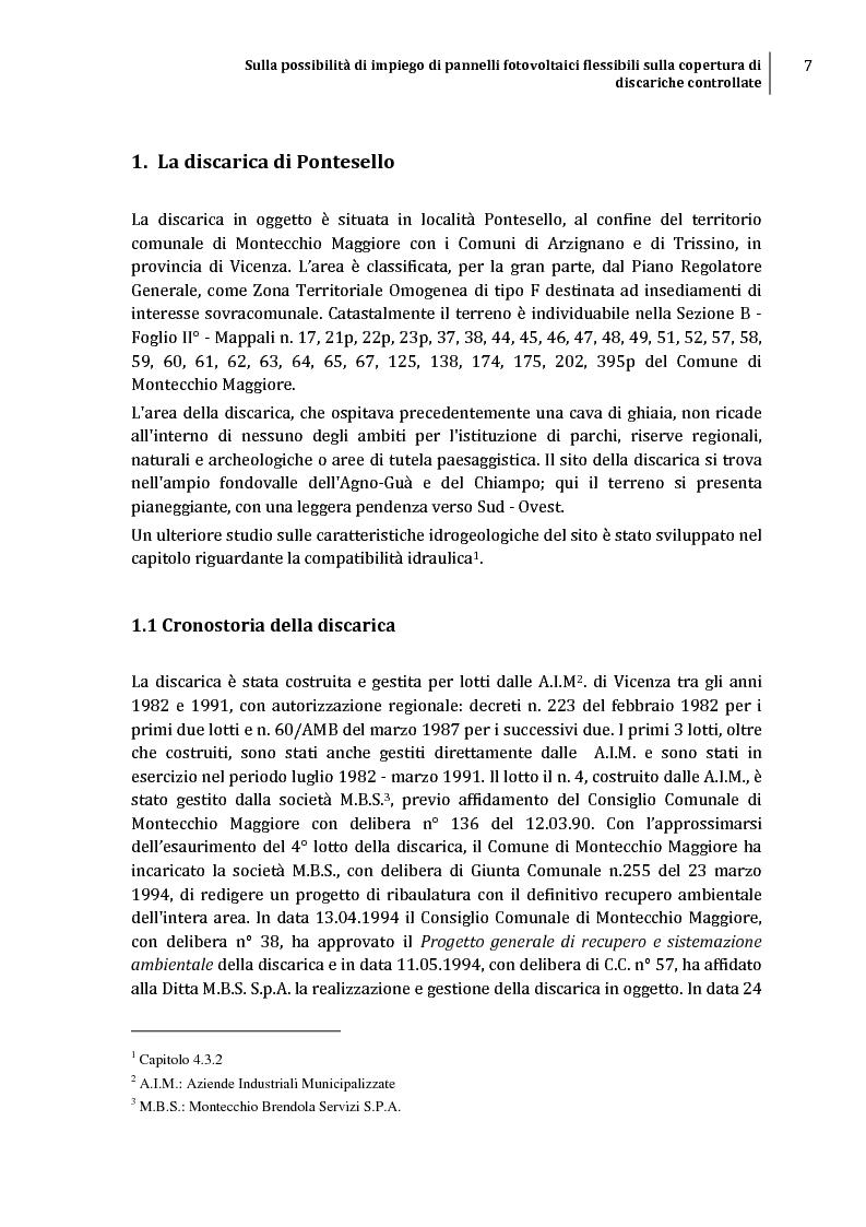 Anteprima della tesi: Sulla possibilità di impiego di pannelli fotovoltaici flessibili sulla copertura di discariche controllate, Pagina 4