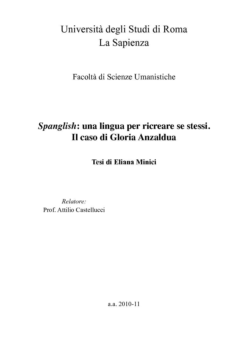 Anteprima della tesi: Spanglish: una lingua per ricreare se stessi. Il caso di Gloria Anzaldua., Pagina 1