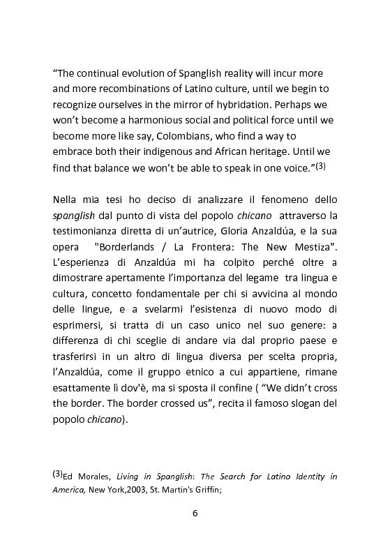 Anteprima della tesi: Spanglish: una lingua per ricreare se stessi. Il caso di Gloria Anzaldua., Pagina 5
