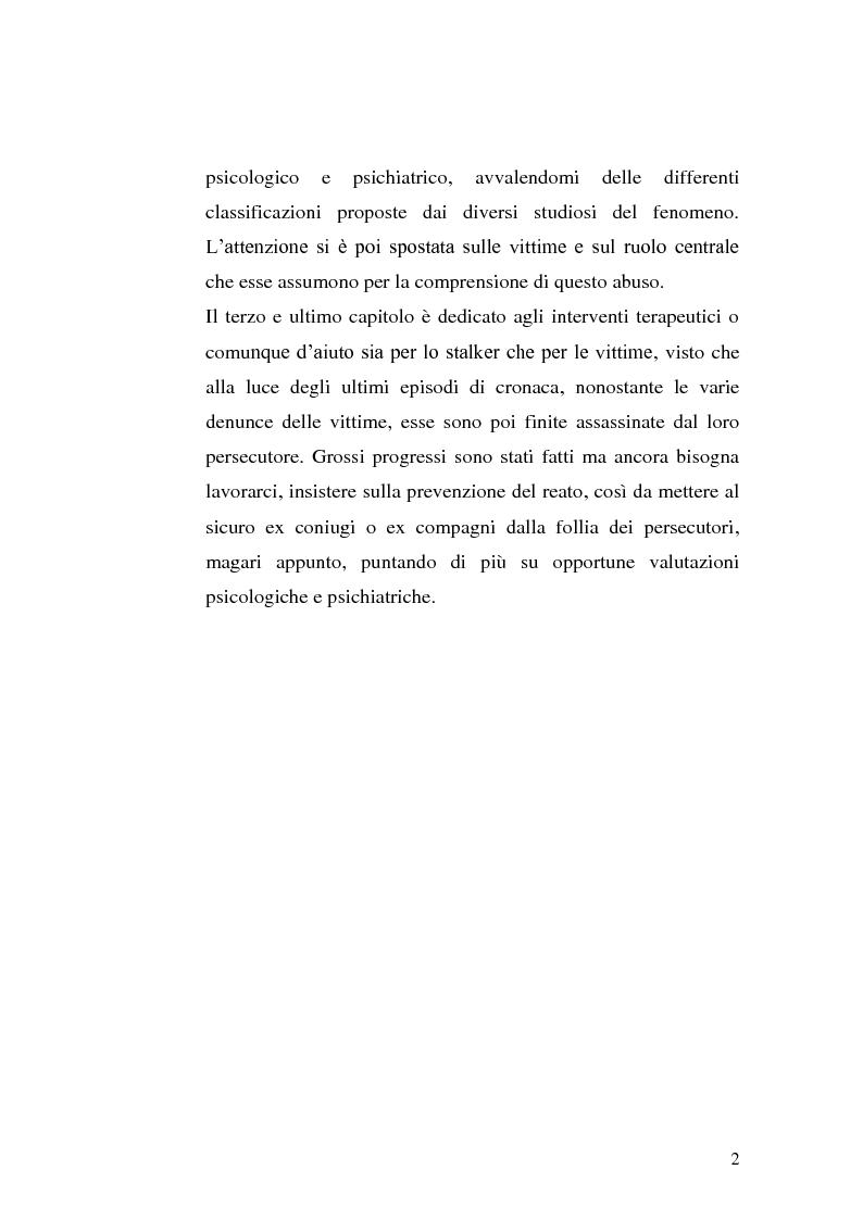 Anteprima della tesi: Stili di attaccamento e psicopatologia della relazione: il fenomeno dello stalking, Pagina 3