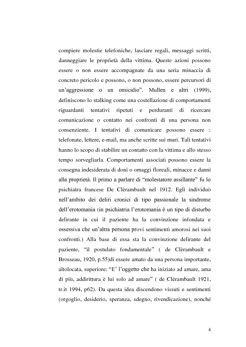 Anteprima della tesi: Stili di attaccamento e psicopatologia della relazione: il fenomeno dello stalking, Pagina 5