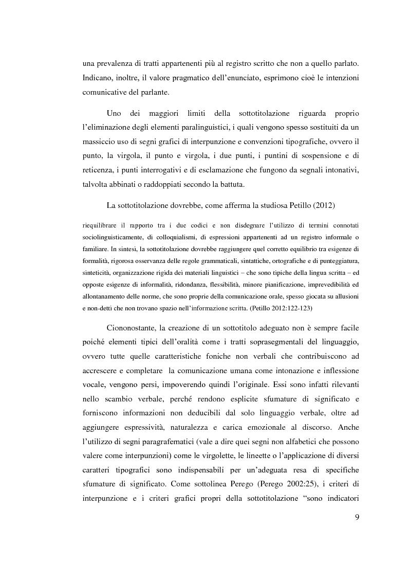 Anteprima della tesi: Aspetti linguistici del sottotitolaggio: analisi delle strategie traduttive in  tre prodotti filmici, Pagina 5