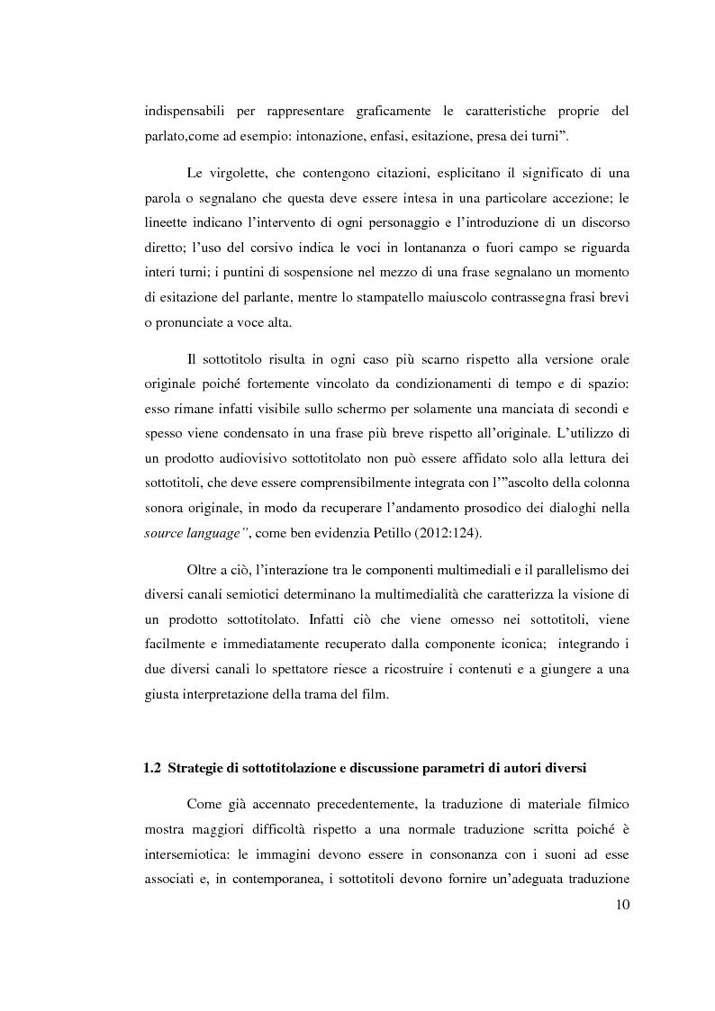 Anteprima della tesi: Aspetti linguistici del sottotitolaggio: analisi delle strategie traduttive in  tre prodotti filmici, Pagina 6