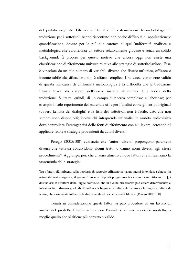 Anteprima della tesi: Aspetti linguistici del sottotitolaggio: analisi delle strategie traduttive in  tre prodotti filmici, Pagina 7