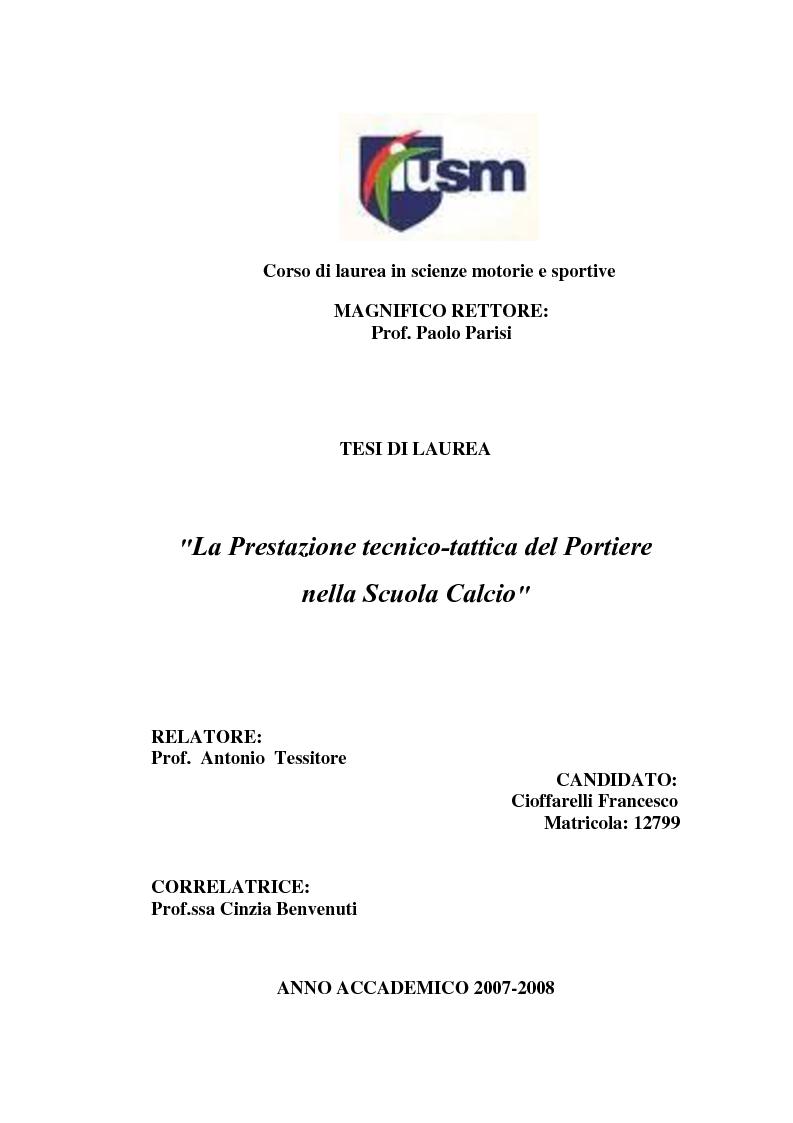 Anteprima della tesi: La Prestazione tecnico-tattica del Portiere nella Scuola Calcio, Pagina 1