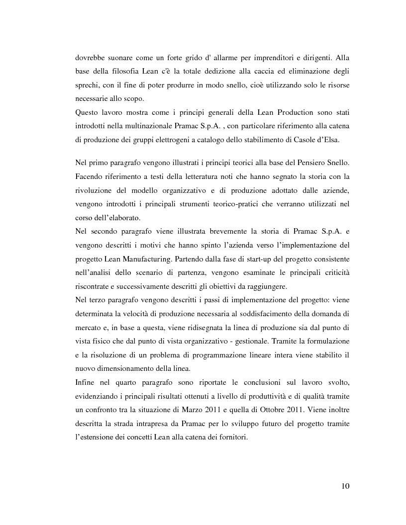 Anteprima della tesi: Lean Manufacturing nel settore manifatturiero: il caso Pramac, Pagina 3
