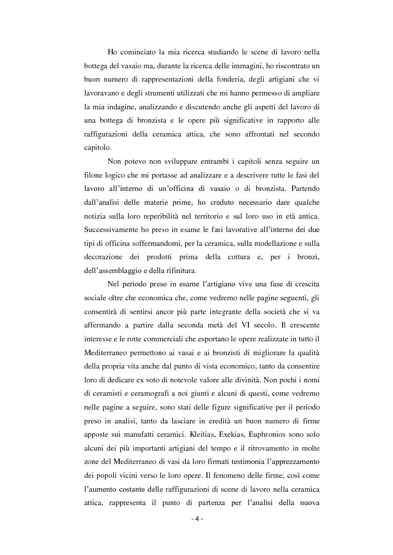 Anteprima della tesi: Bronzisti e vasai: scene di lavoro nella ceramografia attica (VI - V secolo a.C.), Pagina 3