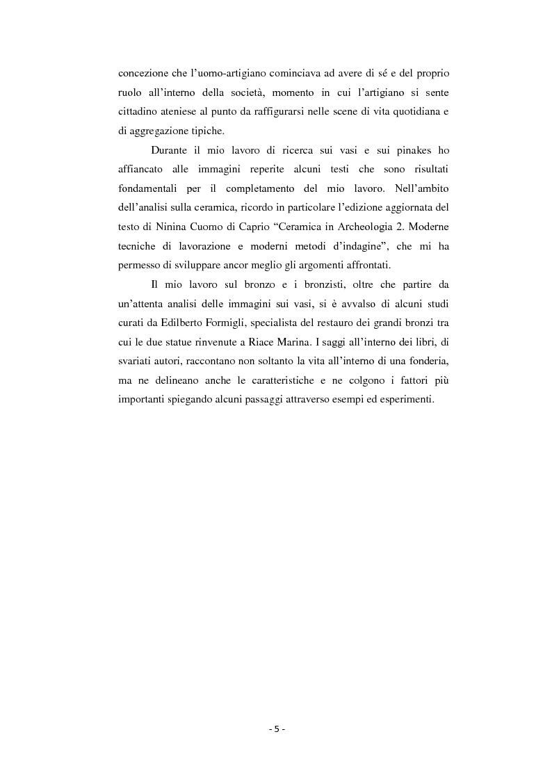 Anteprima della tesi: Bronzisti e vasai: scene di lavoro nella ceramografia attica (VI - V secolo a.C.), Pagina 4