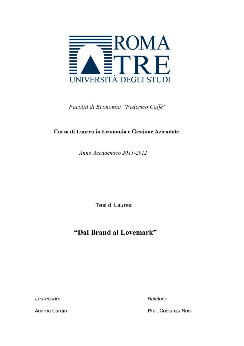 Anteprima della tesi: Dal Brand al Lovemark, Pagina 1
