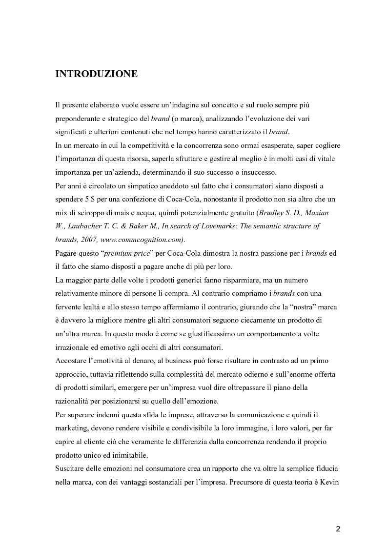 Anteprima della tesi: Dal Brand al Lovemark, Pagina 2