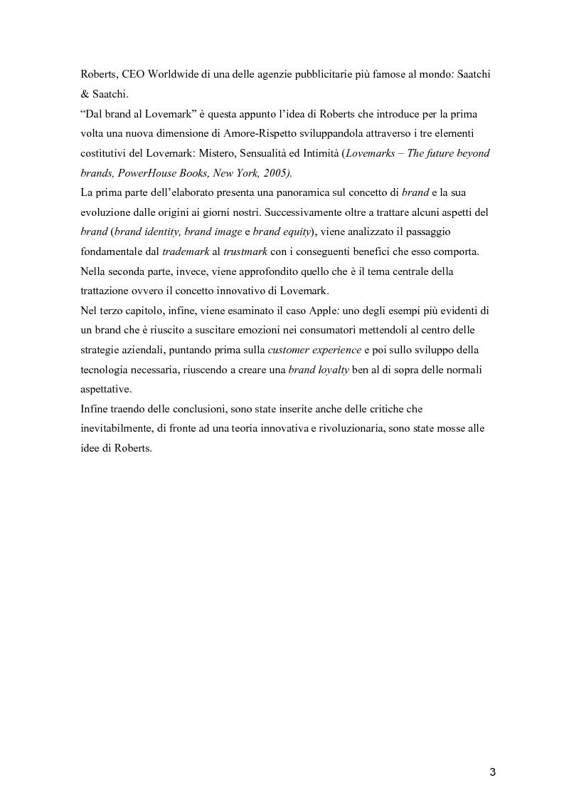 Anteprima della tesi: Dal Brand al Lovemark, Pagina 3