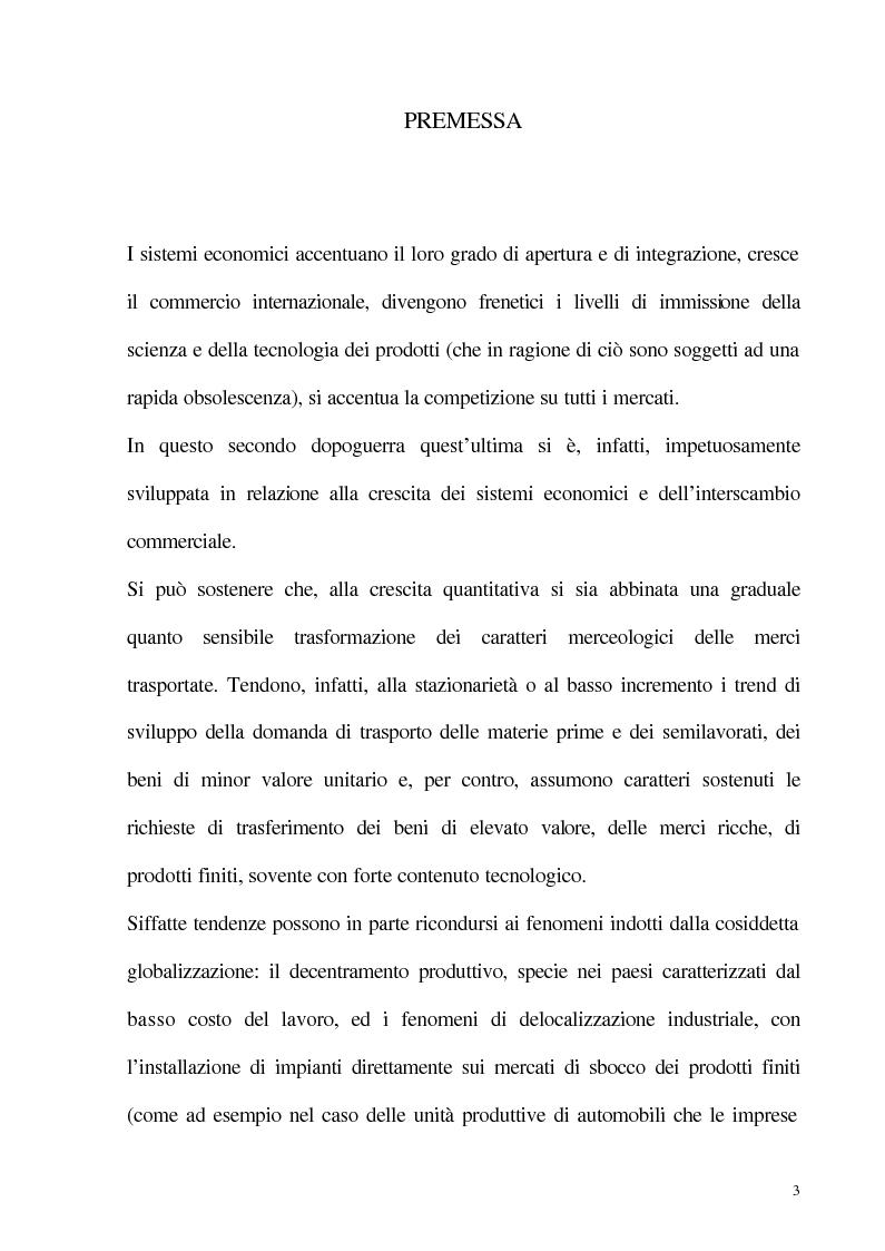 Anteprima della tesi: Dinamiche evolutive nel comparto della spedizione delle merci: il caso della Savino Del Bene S.p.A., Pagina 1