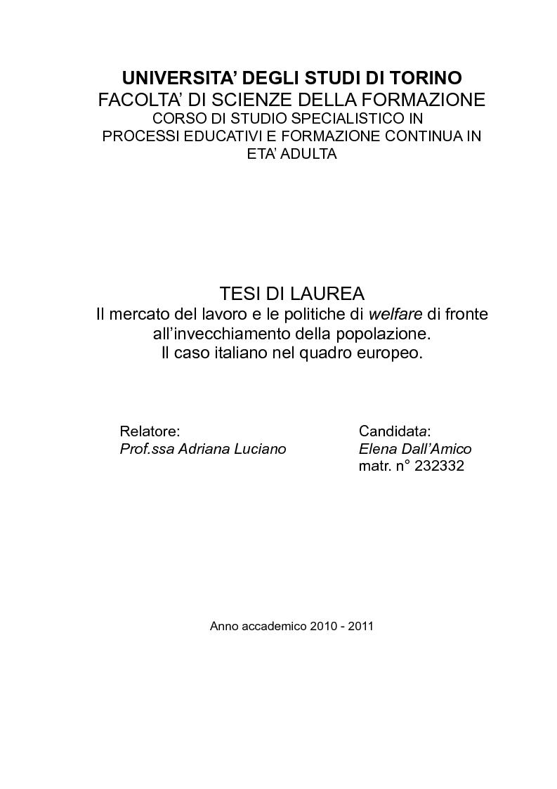 Anteprima della tesi: Il mercato del lavoro e le politiche di welfare di fronte all'invecchiamento della popolazione. Il caso italiano nel quadro europeo., Pagina 1