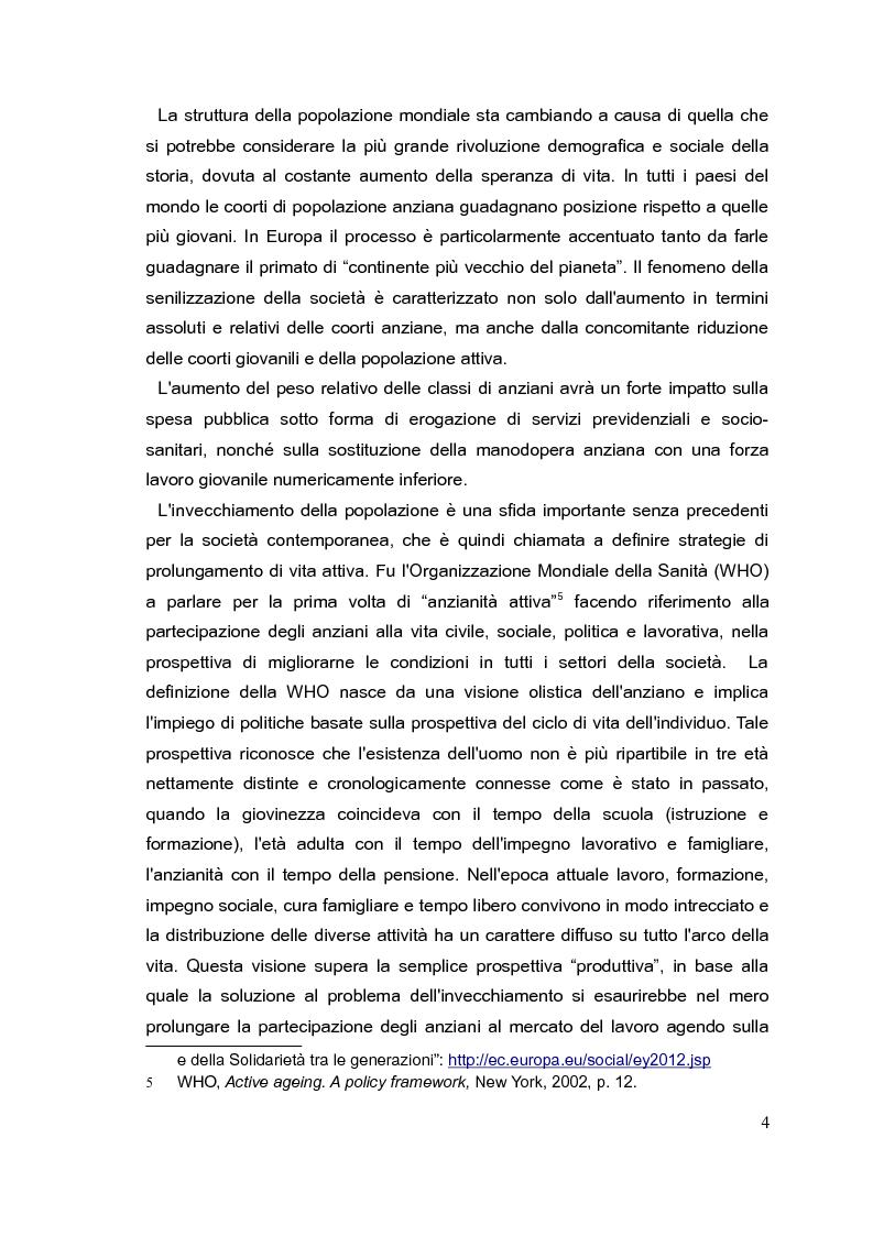 Anteprima della tesi: Il mercato del lavoro e le politiche di welfare di fronte all'invecchiamento della popolazione. Il caso italiano nel quadro europeo., Pagina 3