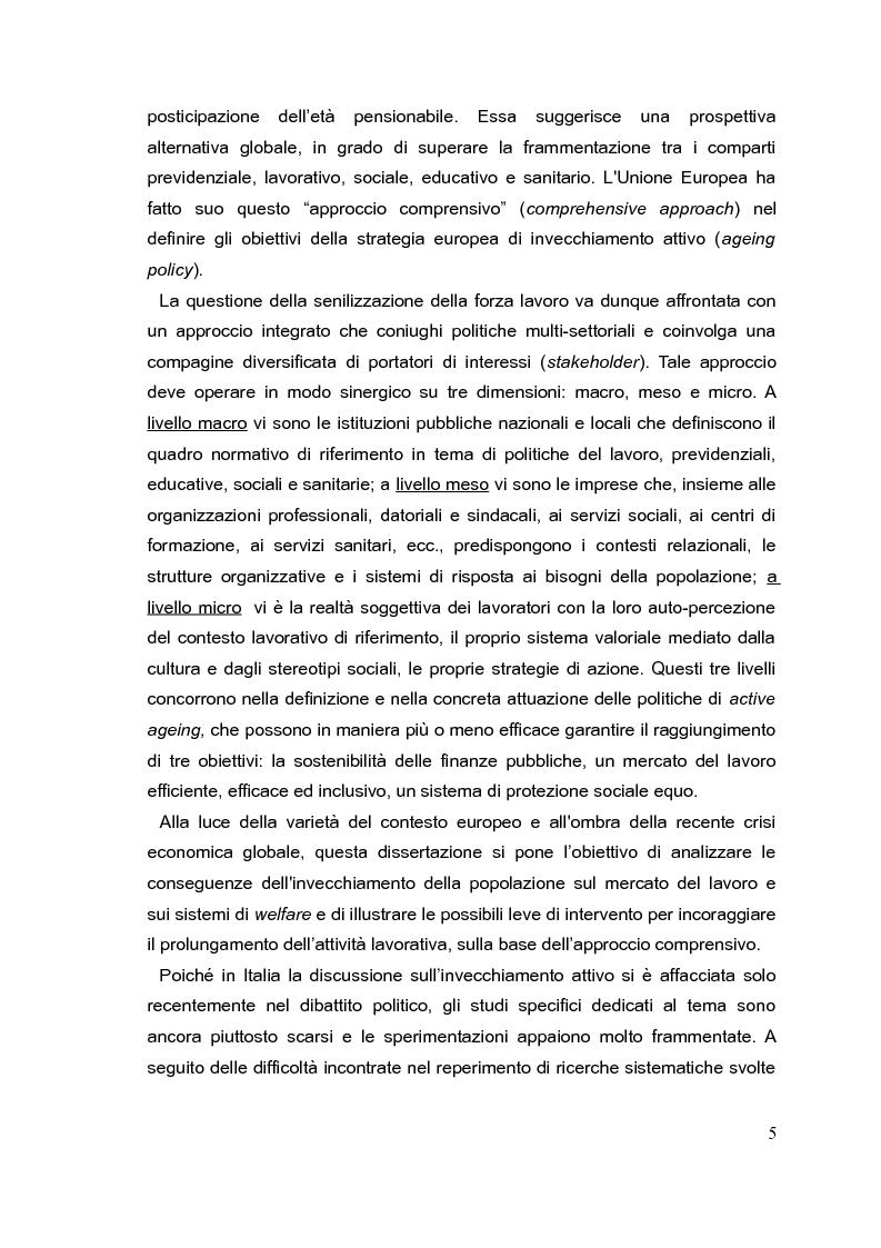 Anteprima della tesi: Il mercato del lavoro e le politiche di welfare di fronte all'invecchiamento della popolazione. Il caso italiano nel quadro europeo., Pagina 4
