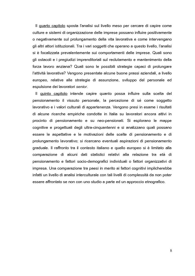 Anteprima della tesi: Il mercato del lavoro e le politiche di welfare di fronte all'invecchiamento della popolazione. Il caso italiano nel quadro europeo., Pagina 7