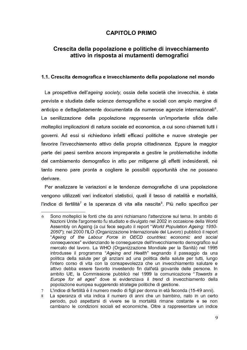 Anteprima della tesi: Il mercato del lavoro e le politiche di welfare di fronte all'invecchiamento della popolazione. Il caso italiano nel quadro europeo., Pagina 8