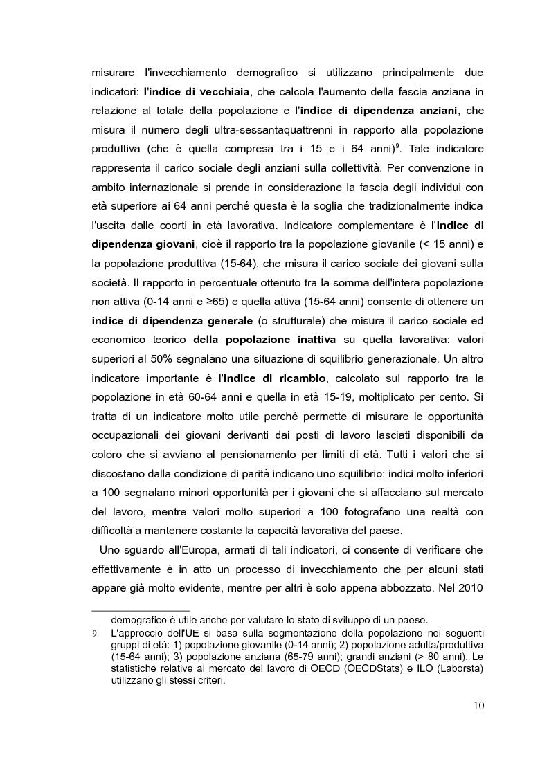 Anteprima della tesi: Il mercato del lavoro e le politiche di welfare di fronte all'invecchiamento della popolazione. Il caso italiano nel quadro europeo., Pagina 9