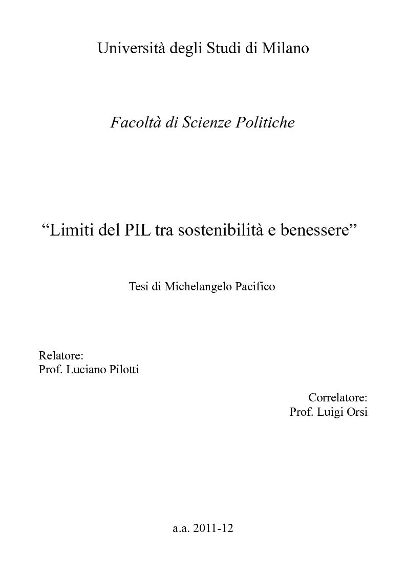 Anteprima della tesi: Limiti del PIL tra sostenibilità e benessere, Pagina 1