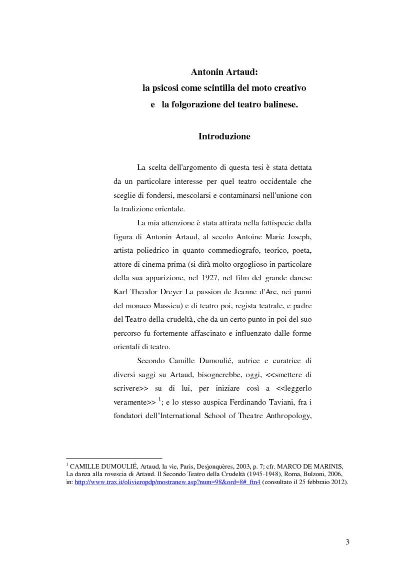 Anteprima della tesi: Antonin Artaud: la psicosi come scintilla del moto creativo e la folgorazione del teatro balinese., Pagina 2