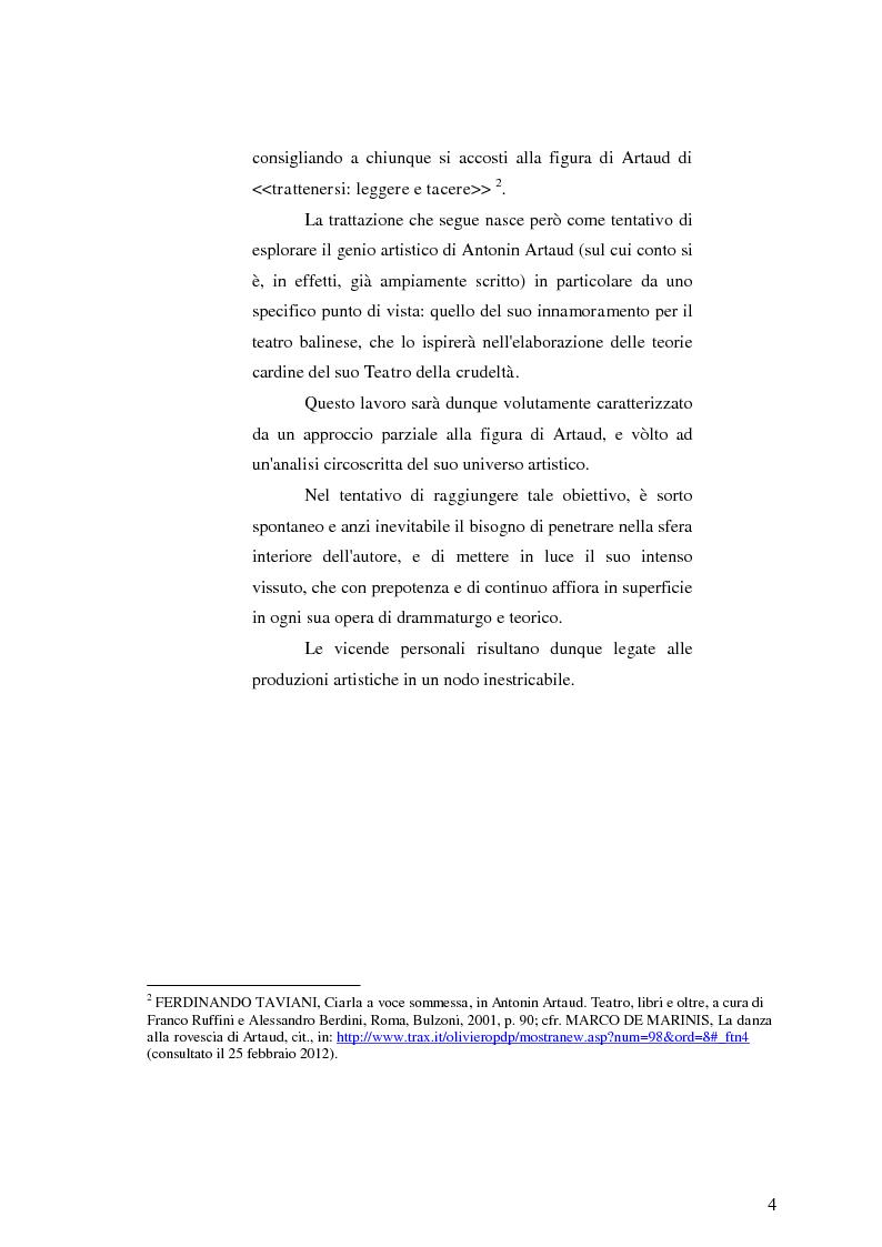 Anteprima della tesi: Antonin Artaud: la psicosi come scintilla del moto creativo e la folgorazione del teatro balinese., Pagina 3